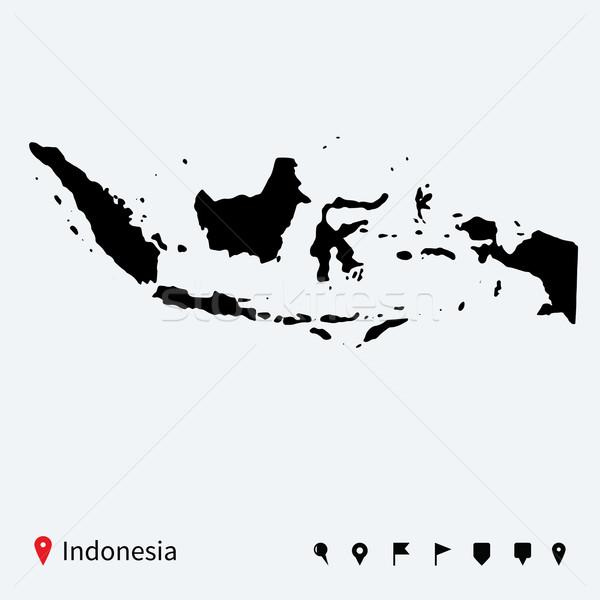 Alto detalhado vetor mapa Indonésia navegação Foto stock © tkacchuk