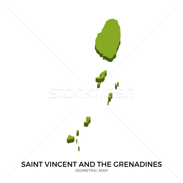 Isometric map of Saint Vincent and the Grenadines detailed vector illustration Stock photo © tkacchuk