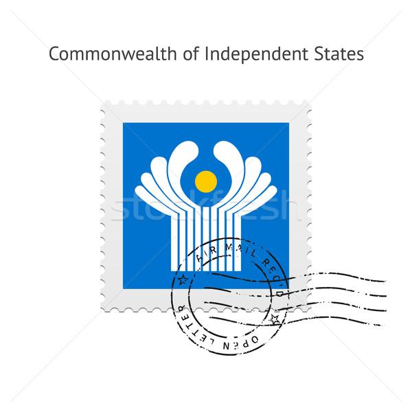 Független zászló postabélyeg fehér keret felirat Stock fotó © tkacchuk