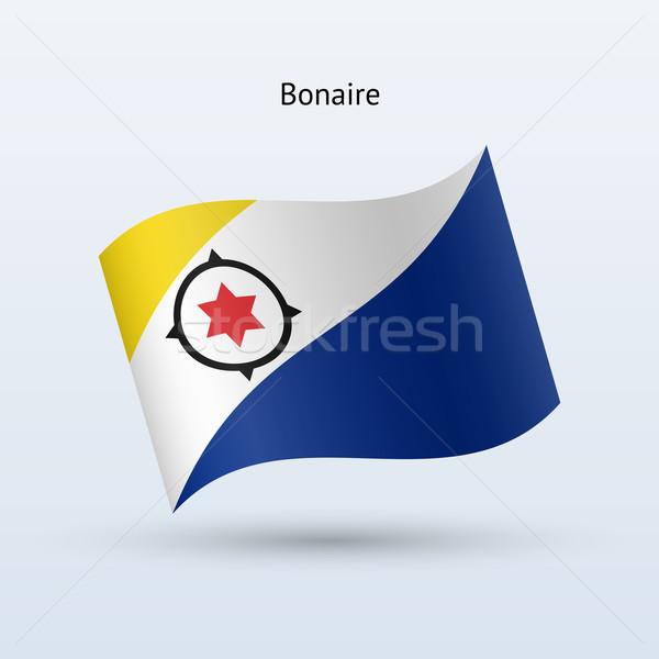 Bonaire flag waving form. Vector illustration. Stock photo © tkacchuk