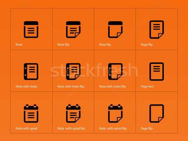 Notepad and sticky note icon set. Stock photo © tkacchuk