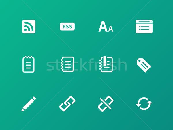 Blogger ikona zielone pióro projektu piśmie Zdjęcia stock © tkacchuk