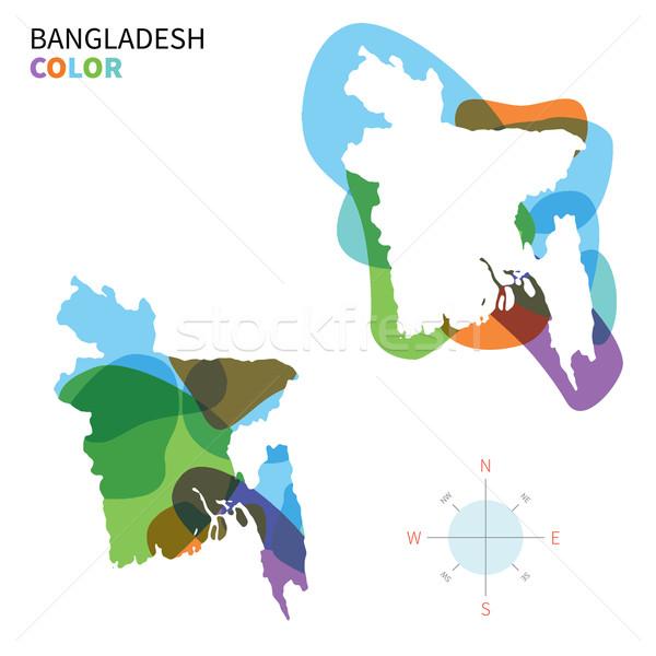 Absztrakt vektor szín térkép Banglades átlátszó Stock fotó © tkacchuk