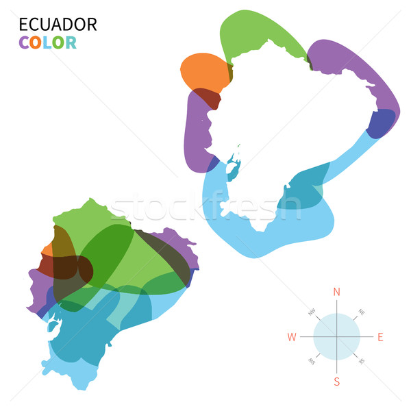 Abstract vector color map of Ecuador with transparent paint effect. Stock photo © tkacchuk