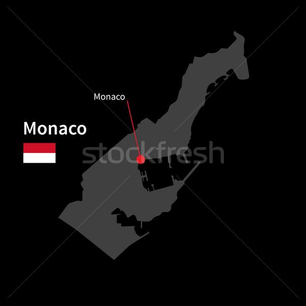 Detailed map of Monaco and capital city Monaco with flag on black background Stock photo © tkacchuk