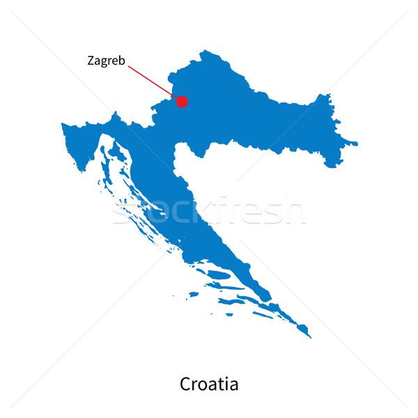 Detailed vector map of Croatia and capital city Zagreb Stock photo © tkacchuk