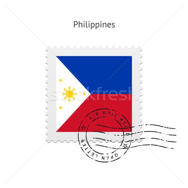 Fülöp-szigetek zászló postabélyeg fehér felirat levél Stock fotó © tkacchuk