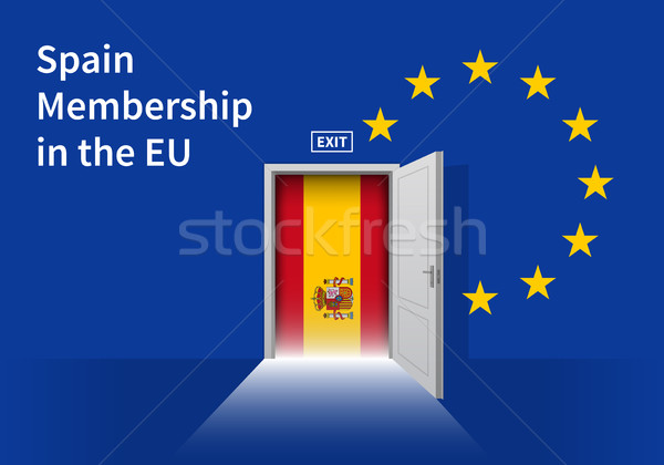 European Union flag wall with Spain flag door. EU Flag. Stock photo © tkacchuk