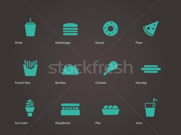 Stockfoto: Fast · food · iconen · voedsel · pizza · glas · restaurant