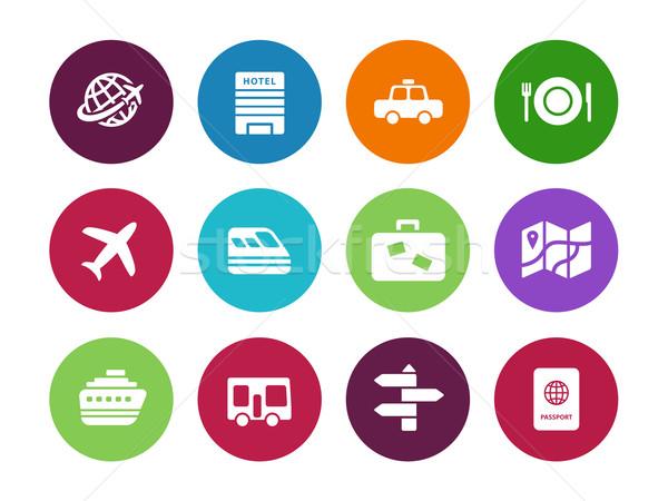 Travel circle icons on white background. Stock photo © tkacchuk