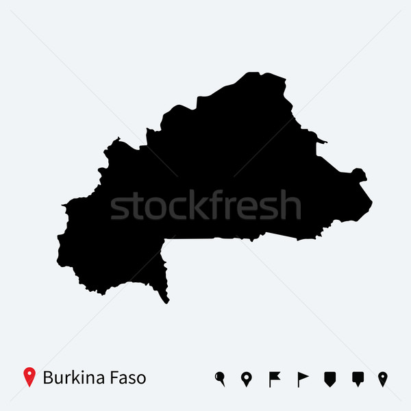 Alto detallado vector mapa Burkina navegación Foto stock © tkacchuk