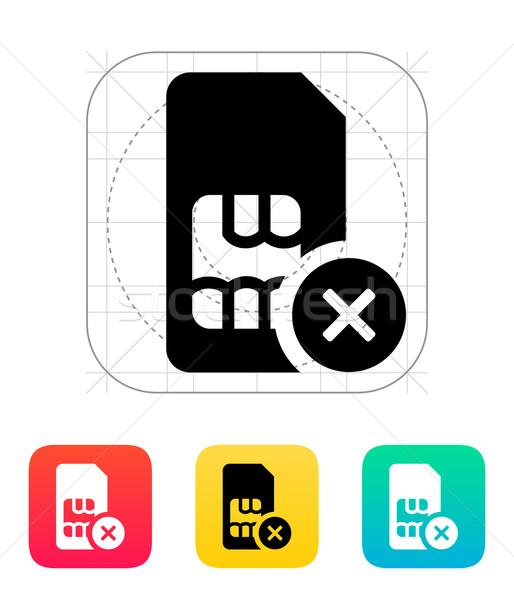 SIM card with cancel sign icon. Stock photo © tkacchuk