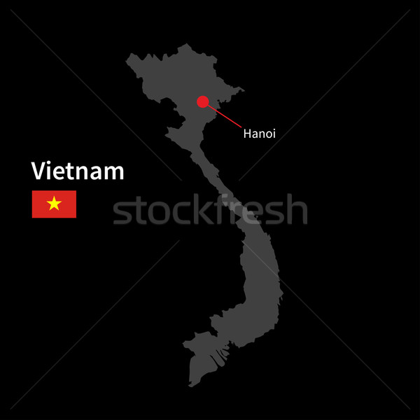 Detailed map of Vietnam and capital city Hanoi with flag on black background Stock photo © tkacchuk