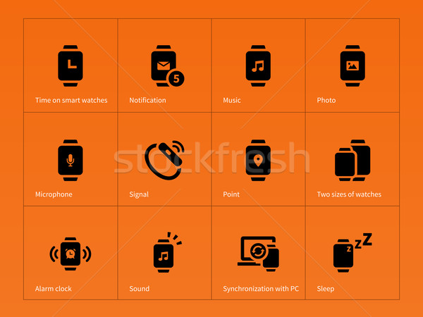 Smart Gadget ansehen Symbole orange Hand Stock foto © tkacchuk