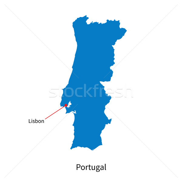 Detailed vector map of Portugal and capital city Lisbon Stock photo © tkacchuk