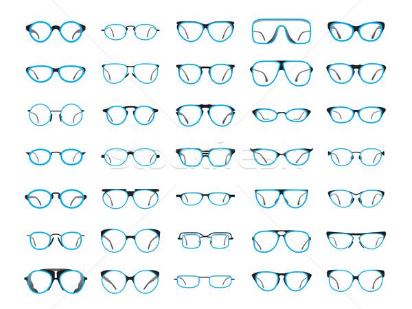 Okulary ikona ilustrator oka muzyka czarny Zdjęcia stock © tkacchuk