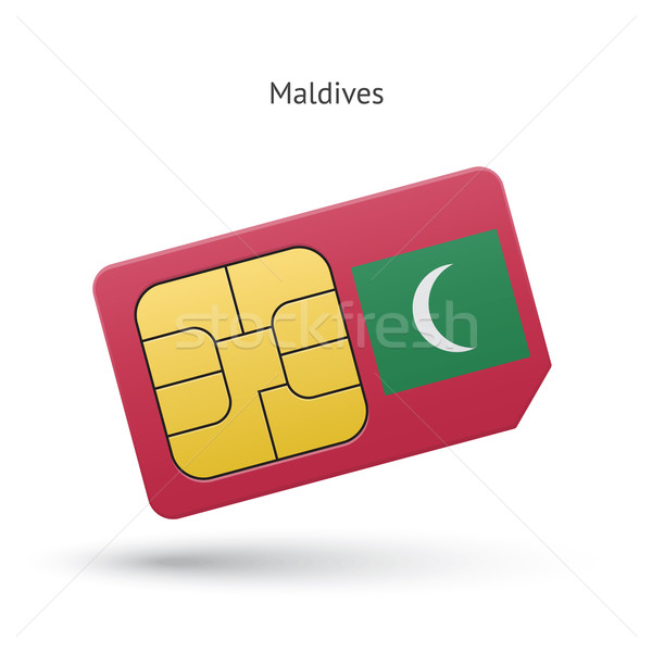 Maldives mobile phone sim card with flag. Stock photo © tkacchuk