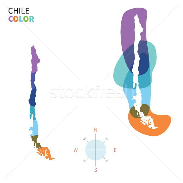 Soyut vektör renk harita Şili şeffaf Stok fotoğraf © tkacchuk