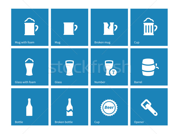 Beer and alcohol glasses icons on blue background. Stock photo © tkacchuk