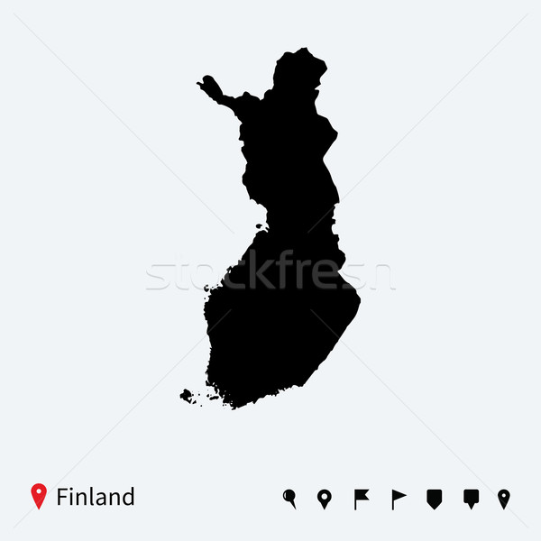 High detailed vector map of Finland with navigation pins. Stock photo © tkacchuk