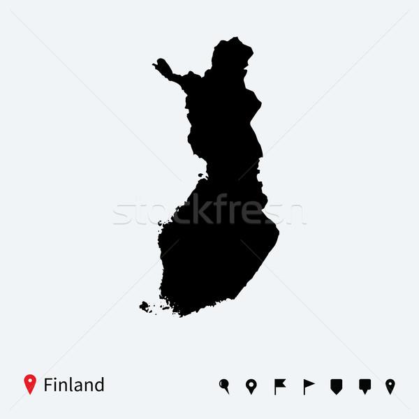 Hoog gedetailleerd vector kaart Finland navigatie Stockfoto © tkacchuk