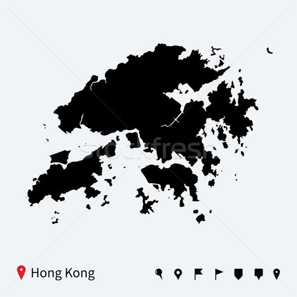 Hoog gedetailleerd vector kaart Hong Kong navigatie Stockfoto © tkacchuk