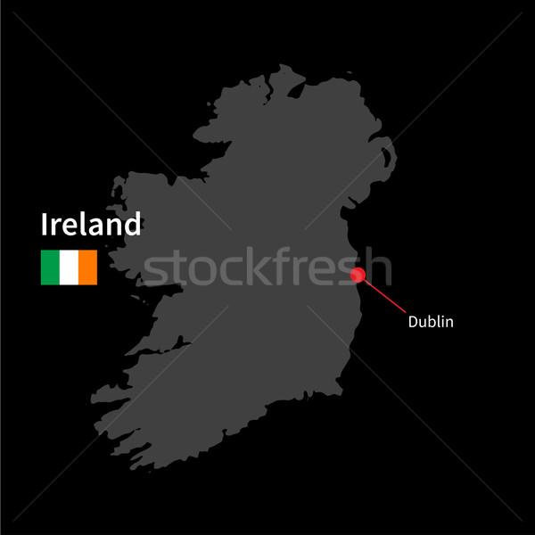 詳しい 地図 アイルランド 市 ダブリン フラグ ストックフォト © tkacchuk