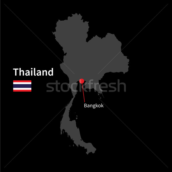 Detailed map of Thailand and capital city Bangkok with flag on black background Stock photo © tkacchuk