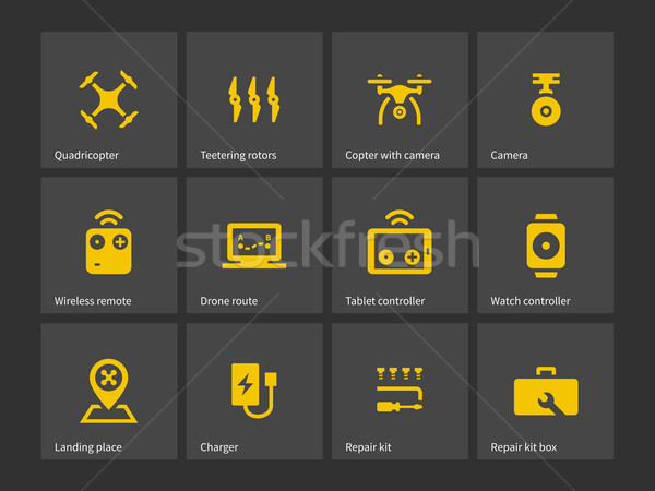 Delivery quadcopter drone icons. Stock photo © tkacchuk