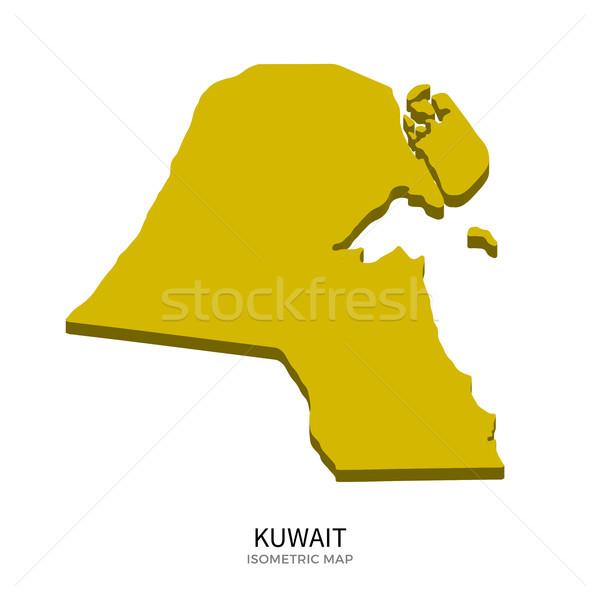 Foto d'archivio: Isometrica · mappa · Kuwait · dettagliato · isolato · 3D