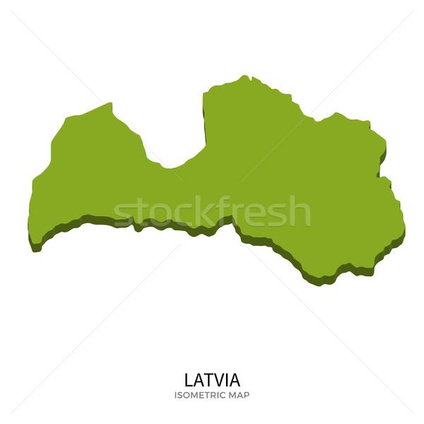 Isometrische kaart Letland gedetailleerd geïsoleerd 3D Stockfoto © tkacchuk