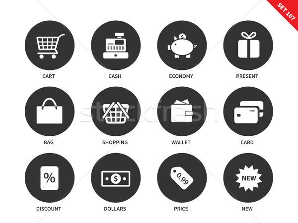 Shopping icone bianco vettore consumismo Foto d'archivio © tkacchuk