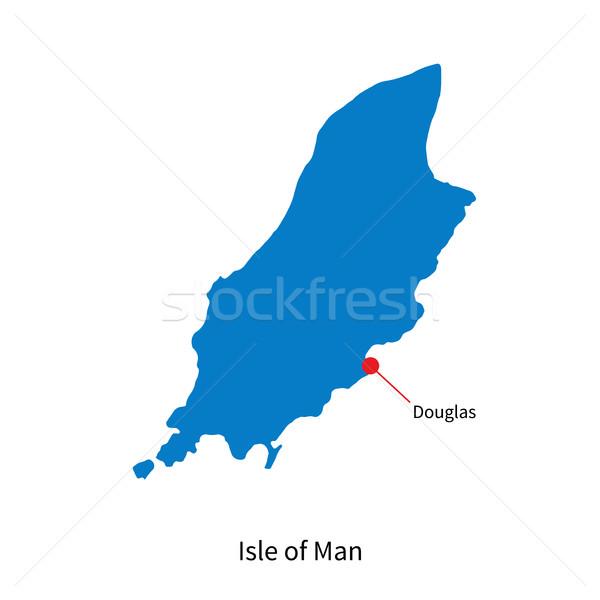 Detailed vector map Isle of Man and capital city Douglas Stock photo © tkacchuk