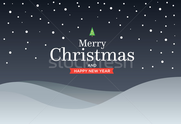 Classic Marry Christmas background with green three, snow, snowflakes Stock photo © tkacchuk