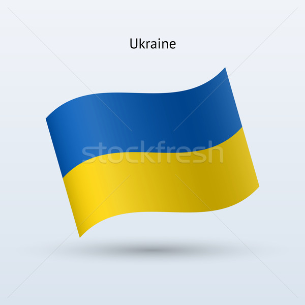 Ukraine flag waving form. Vector illustration. Stock photo © tkacchuk