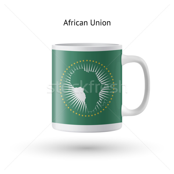 African Union flag souvenir mug on white background. Stock photo © tkacchuk