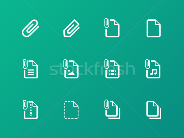 File Clip icons on green background. Stock photo © tkacchuk