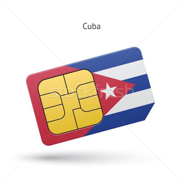 Cuba mobile phone sim card with flag. Stock photo © tkacchuk