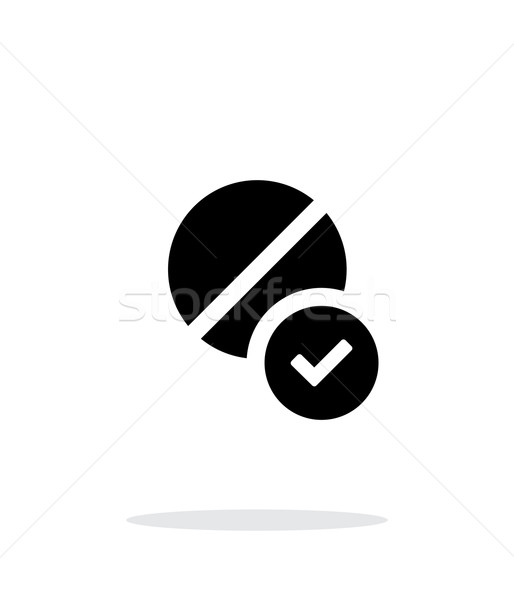 Stock photo: Pill icon with sign check on white background.