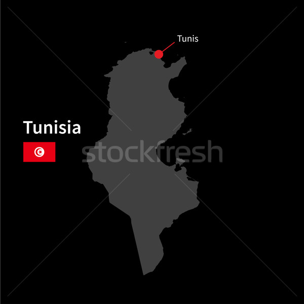 Stock photo: Detailed map of Tunisia and capital city Tunis with flag on black background