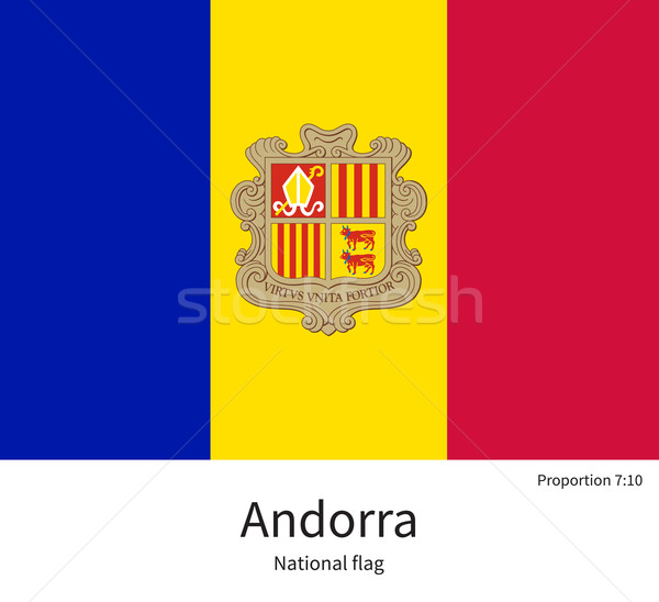 National flag of Andorra with correct proportions, element, colors Stock photo © tkacchuk