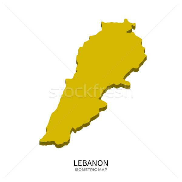 ストックフォト: アイソメトリック · 地図 · レバノン · 詳しい · 孤立した · 3D