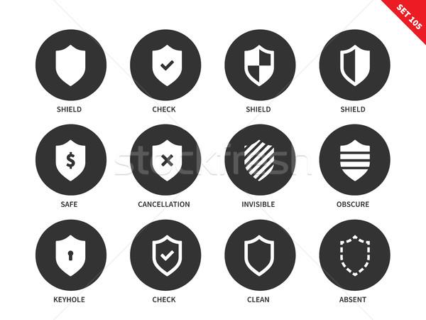 щит иконки белый векторных иконок набор защиту Сток-фото © tkacchuk