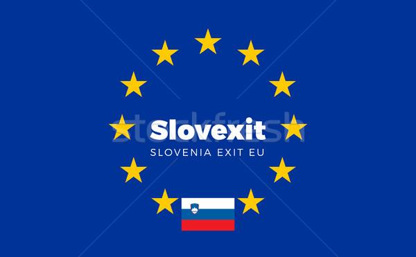 Banderą europejski Unii wyjście eu tytuł Zdjęcia stock © tkacchuk