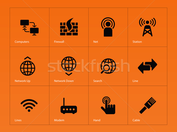 Netwerken iconen oranje hand computers netwerk Stockfoto © tkacchuk