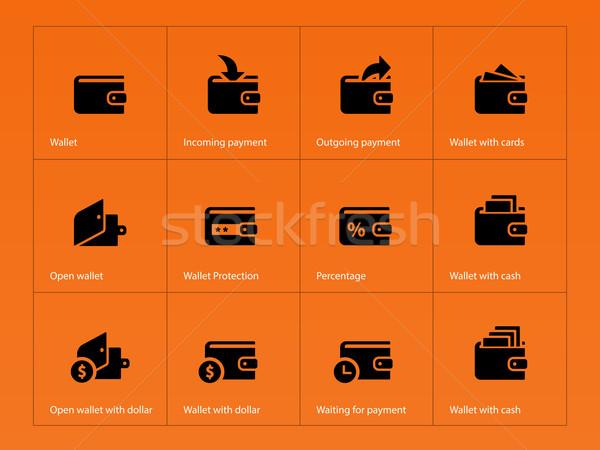 Wallet and translation icons on orange background Stock photo © tkacchuk