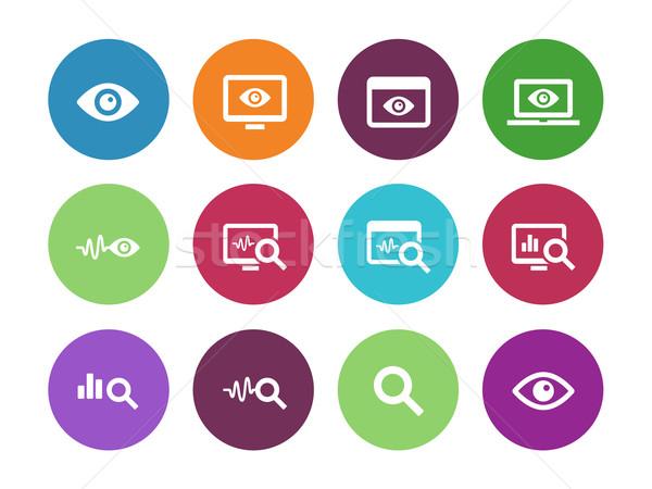 Ellenőrzés kör ikonok fehér megfigyelés számítógép Stock fotó © tkacchuk