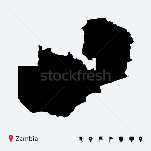 Yüksek ayrıntılı vektör harita Zambiya navigasyon Stok fotoğraf © tkacchuk