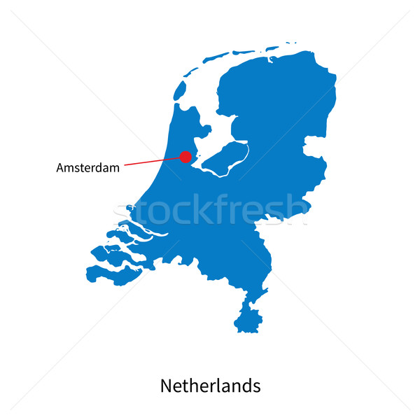 Detailed vector map of Netherlands and capital city Amsterdam Stock photo © tkacchuk
