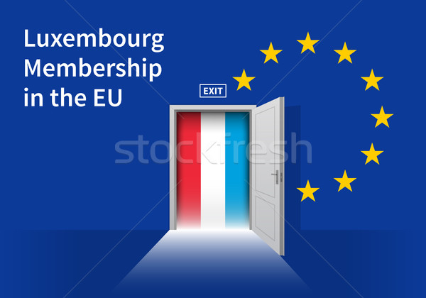 European Union flag wall with Luxembourg flag door. EU Flag. Stock photo © tkacchuk